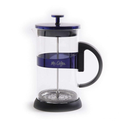 MrCoffee Kitchen Appliances Max Brew 32oz Glass Coffee Press, Blue