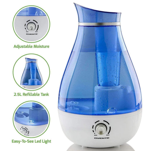 Ovente Heating & Cooling Ultrasonic Humidifier, Refillable Water Tank, Moisture Control Knob, Cool Mist Outlet, Indicator Light, 20-Watts, 2.5 Liter, Blue