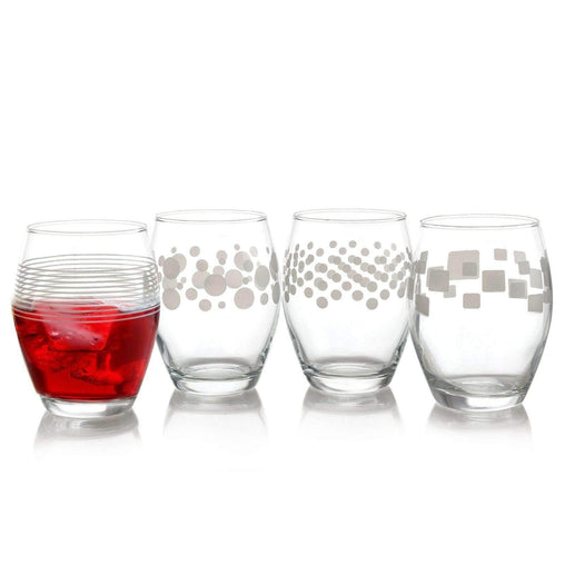 Pasabahce Tableware Pasabahce Trend 4 Piece 13 oz.Stemless Wine Glass Set with Assorted Designs