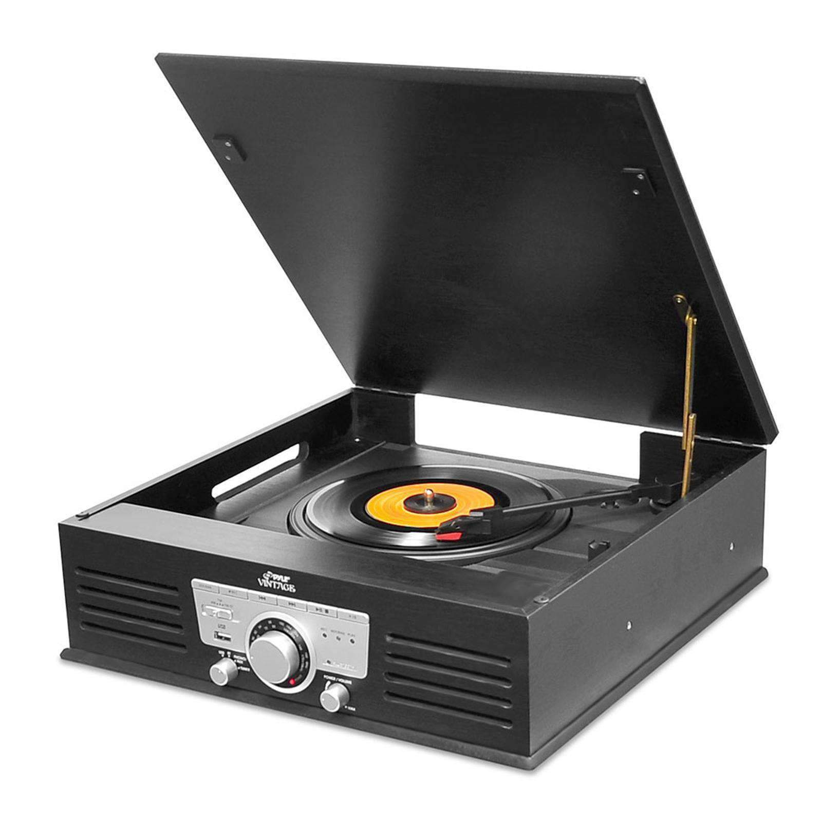 Pyle Nostalgia Systems Pyle Bluetooth Classic Style Record Player Turntable with Vinyl to MP3 Recording, USB-SD Card Readers and AM-FM Radio