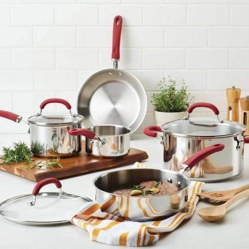 Stainless Steel 12 piece Non Stick Cookware Set - Red Handles