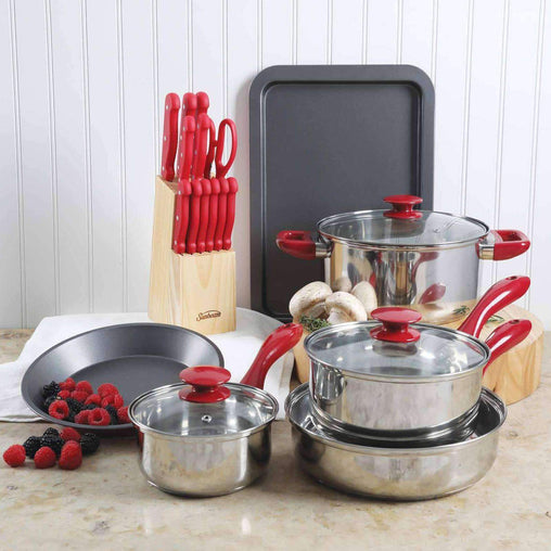 Sunbeam Cookware Sunbeam Crawford 22 Piece Cookware Combo Set in Red