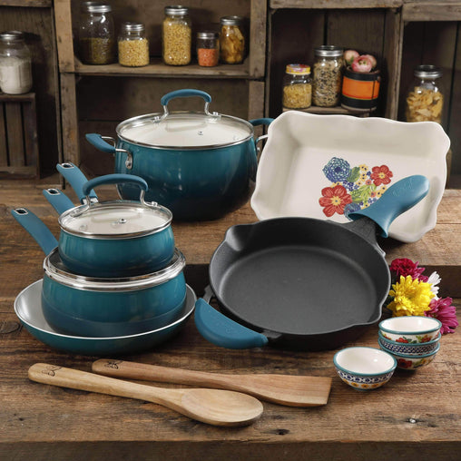 The Pioneer Woman Kitchen Ocean Teal 17 Piece Cookware Set - Porcelain Enamel Ceramic Nonstick Aluminum with Cast Iron Skillet