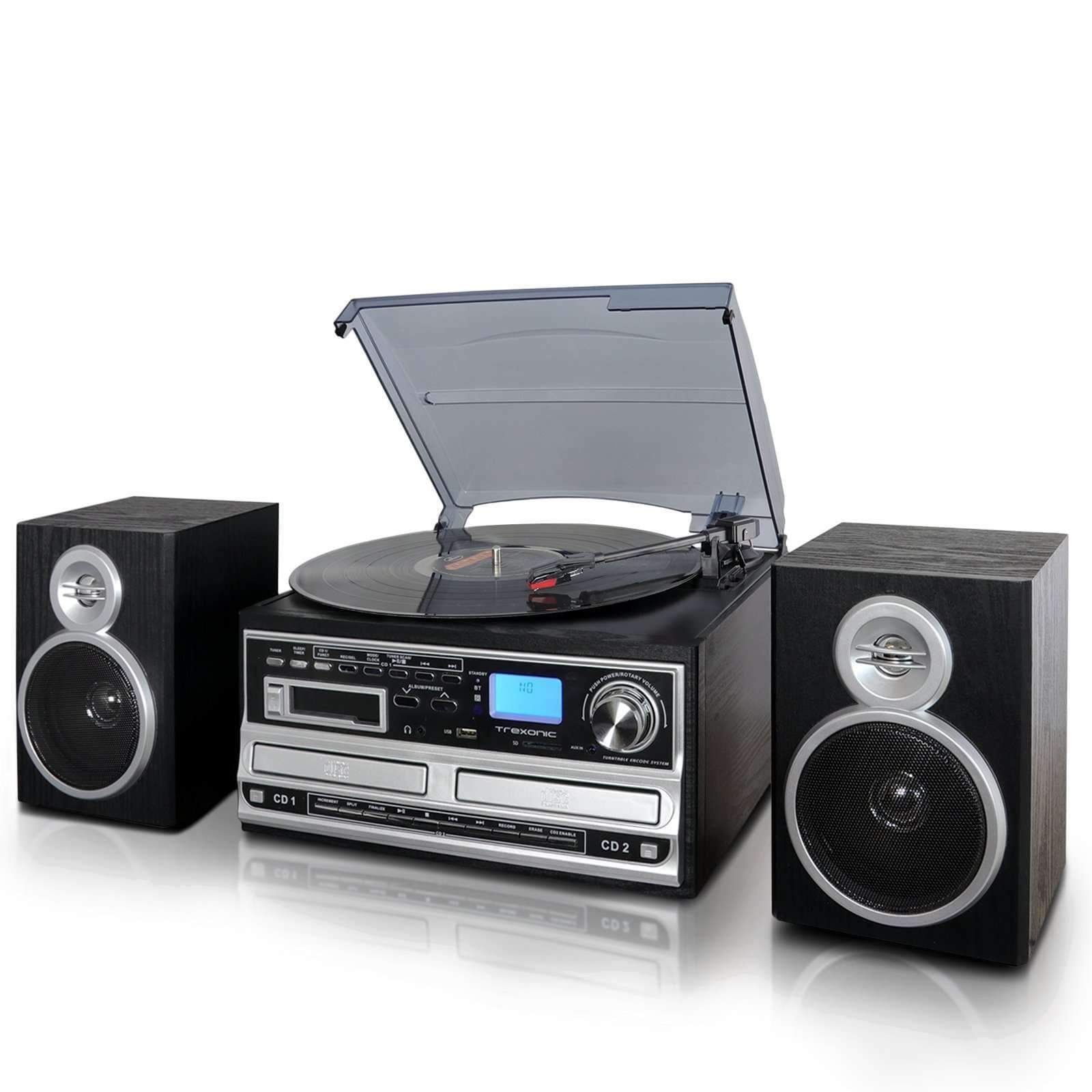 Trexonic Nostalgia Systems Trexonic 3-Speed Turntable With CD Player, CD Recorder, Cassette Player, Wired Shelf Speakers, FM Radio & CD-USB-SD Recording