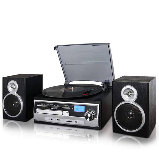 Trexonic Nostalgia Systems Trexonic 3-Speed Turntable With CD Player, FM Radio, Bluetooth, USB-SD Recording and Wired Shelf Speakers - Reconditioned