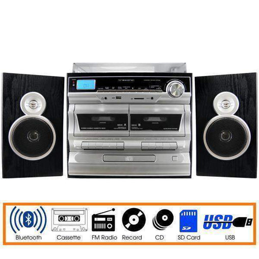 Trexonic Nostalgia Systems Trexonic 3-Speed Vinyl Turntable  Home Stereo System with CD Player, Double Cassette Player, Bluetooth, FM Radio & USB-S