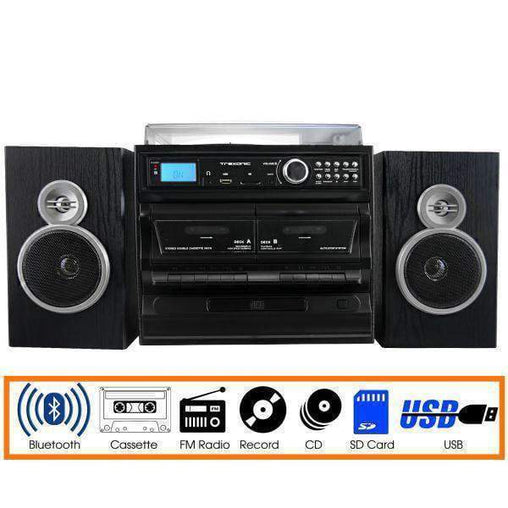 Trexonic Nostalgia Systems Trexonic 3-Speed Vinyl Turntable Home Stereo System with CD Player, Dual Cassette Player, Bluetooth, FM Radio & USB-SD R