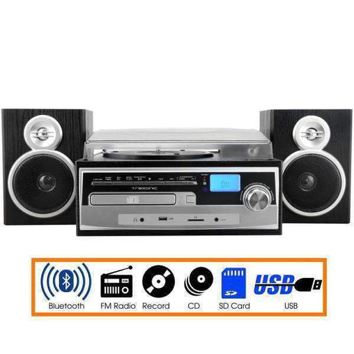 Trexonic Nostalgia Systems Trexonic 3-Speed Vinyl Turntable Home Stereo System with CD Player, FM Radio, Bluetooth, USB-SD Recording and Wired Shelf Speakers