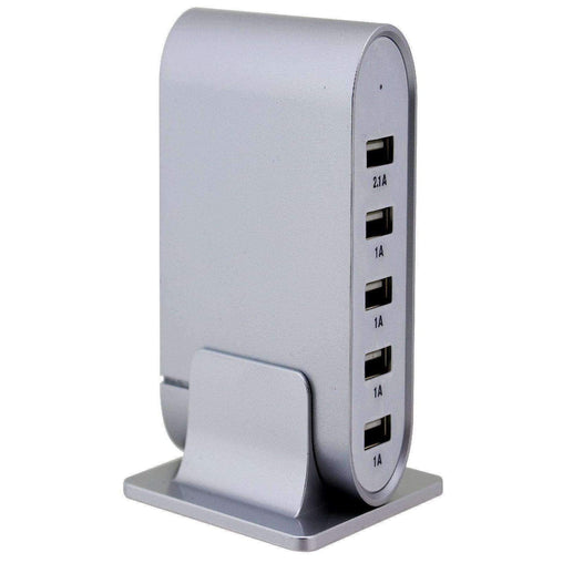 Trexonic Office and Home Trexonic 7.1 Amps 5 Port Universal USB Compact Charging Station in Silver Finish