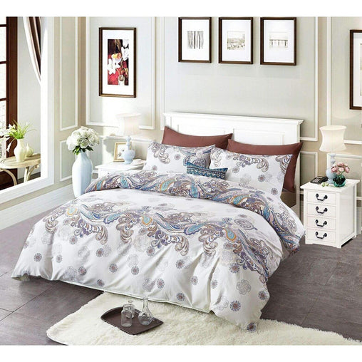 Victoria's Rose Bedding & Bath 3pc Bedding Sets 100% Cotton Duvet Cover and 2 Pillow Cases - Classic Floral Peacock
