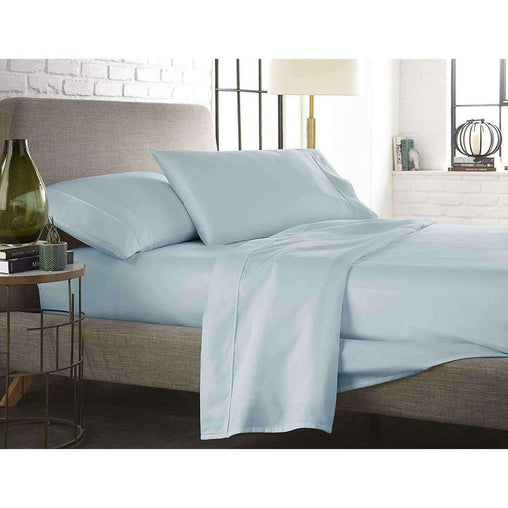 Victoria's Rose Bedding & Bath Queen Size 425 Thread count 4 Piece Set - Hotel Luxury Bed Sheets Extra Soft Deep Pockets Easy Fit Breathable & Cooling Wrinkle Free Comfy - Blue