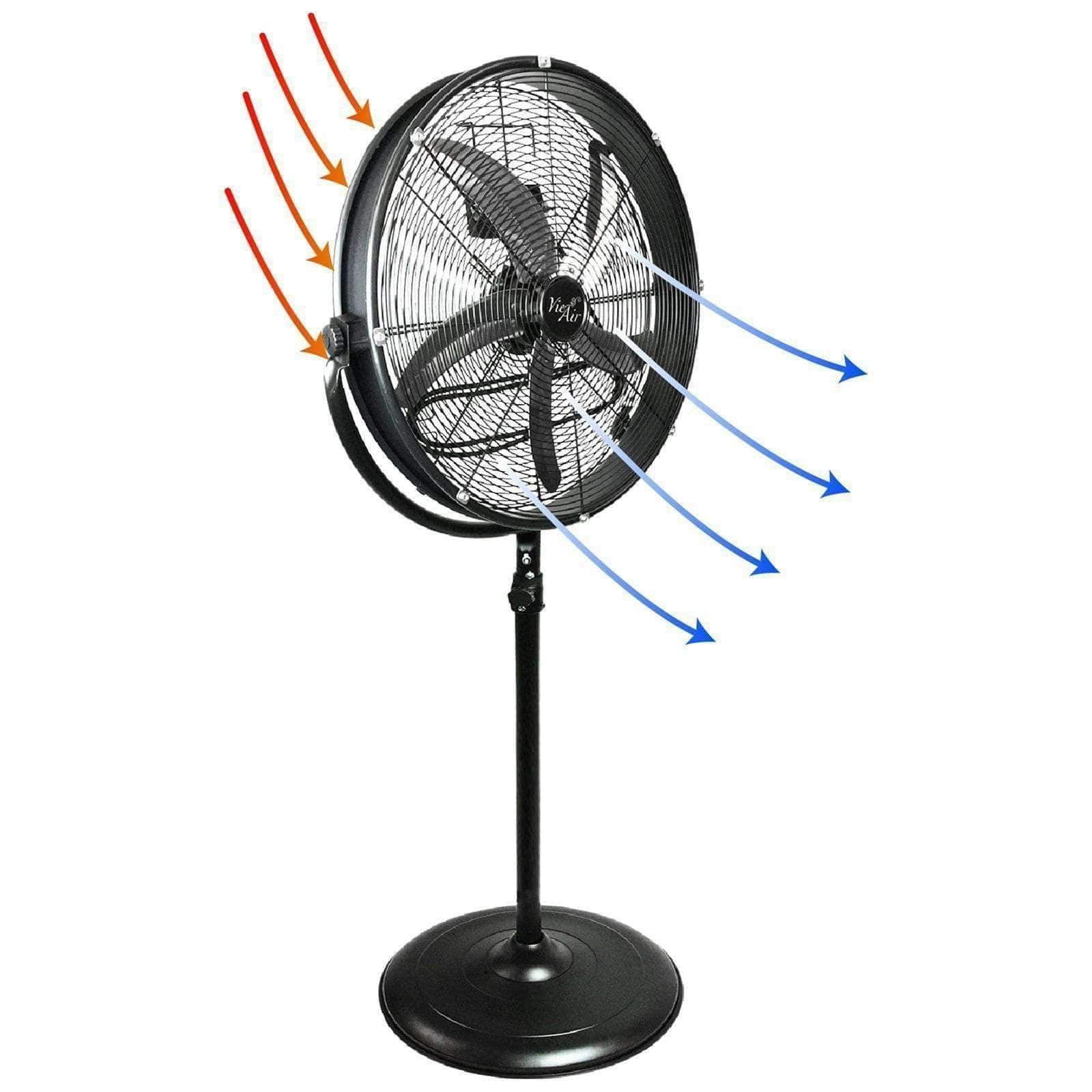"VieAir Heaters and Fans 20"" Industrial Heavy Duty Powerful and Quiet Metal High Velocity 360 Degree Tilting Pedestal Drum Fan with 3 Speeds and 360 Degree Tilt"