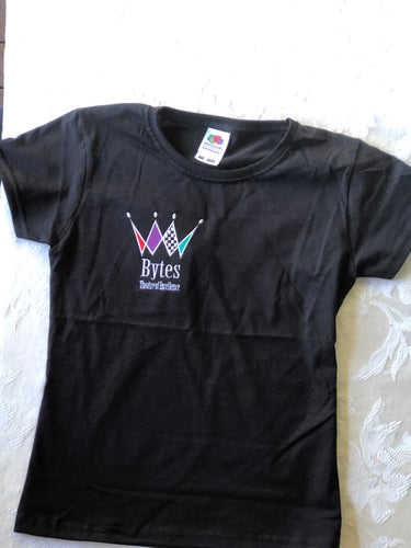 Black Short sleeve  T Shirt with Embroidered BYTES logo