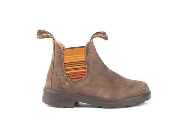 Blundstone #1338 - Blunnies Children's Boot (Rustic Brown/Striped Elastic)