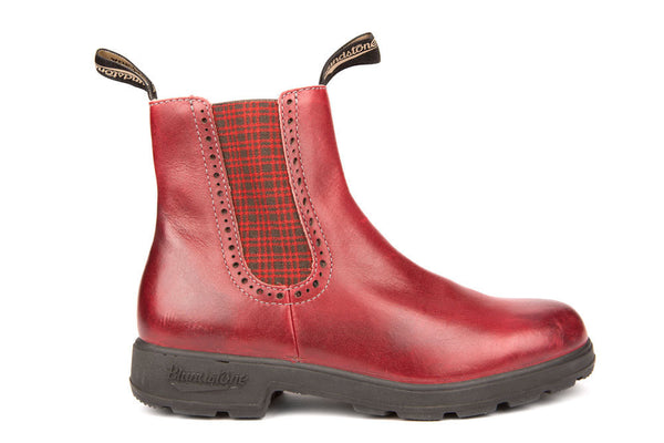 Blundstone #1442 - Girlfriend Boot (Burgundy Rub/Tartan Elastic)