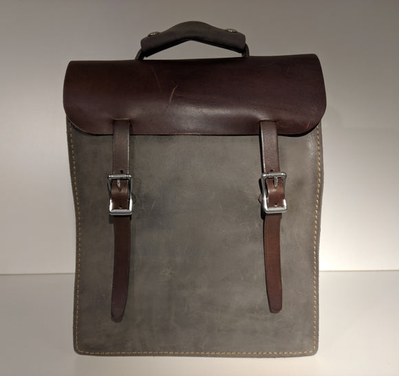 Transit Backpack (Grey/Brown) - JMB Leather Goods