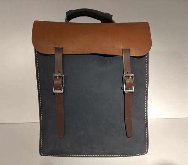Transit Backpack (Navy/Tan) - JMB Leather Goods