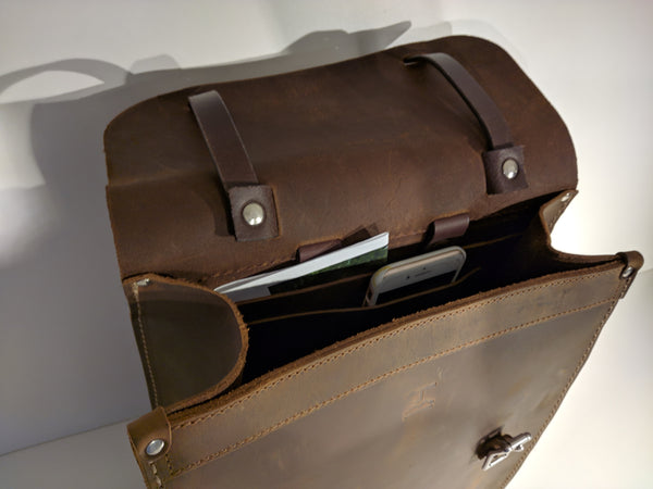 Transit Backpack (Brown/Moss Green) - JMB Leather Goods