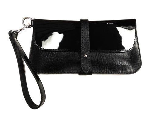 Lily Clutch (Black/Black Patent) - JMB/King Mountain