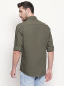 Military Macho -  EVOQ Men's 100% Pure Superior Cotton-Linen Bottle Green Full Sleeves Casual Shirt - EVOQ