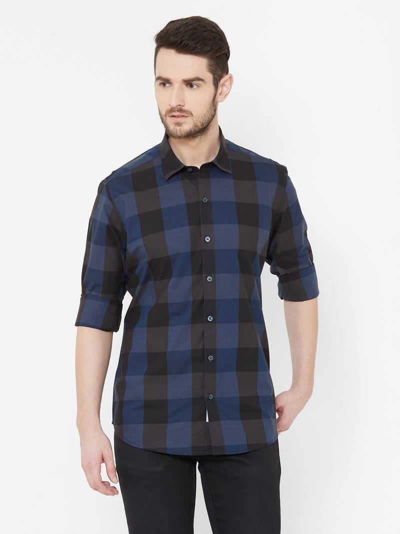 Check Mate2.0 -  EVOQ Men's 100% Pure Superior Cotton Blue Checks Full Sleeves Casual Shirt - EVOQ