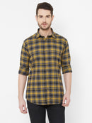 Blueberry Capella - EVOQ's Brushed Cotton Flannel Checks Full Sleeves Shirt for Men - EVOQ