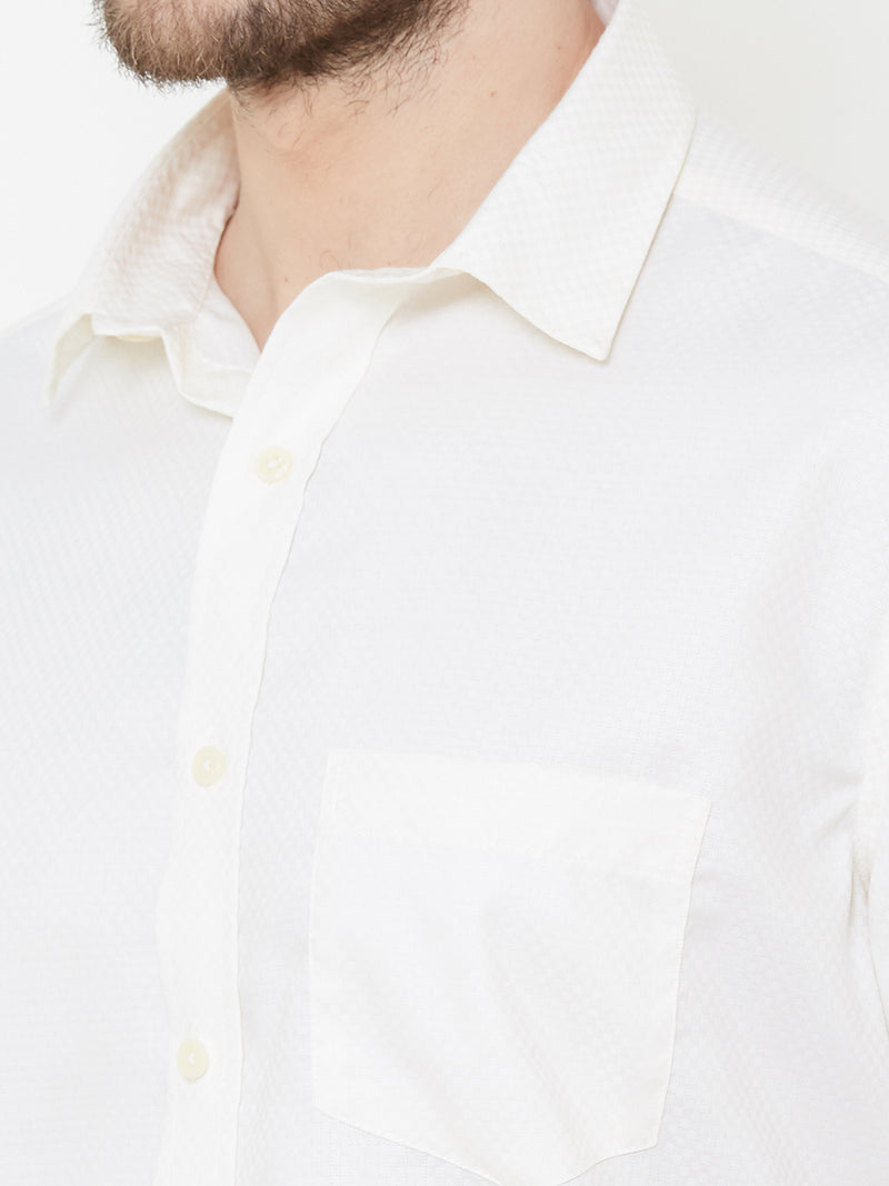 Vanilla Cream -  EVOQ Men's 100% Pure Superior Cotton White Designed Full Sleeves Casual Shirt