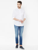 Chalked Out - White Color Premium Linen Full-Sleeves Formal and Casual Shirt - EVOQ