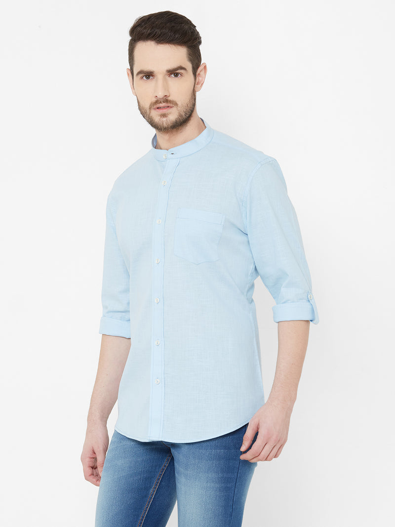 Country Sky -  EVOQ Men's 100% Pure Superior Cotton-Linen Sky Blue Full Sleeves Casual Shirt - EVOQ