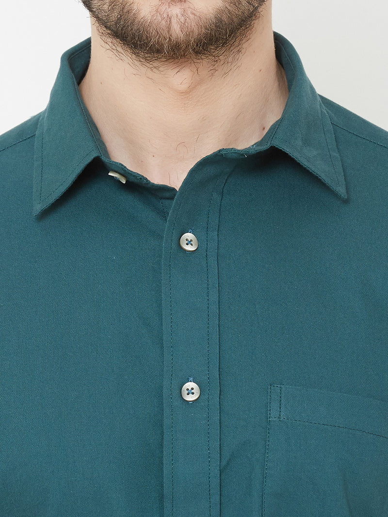 Teal-i-cious -  EVOQ Men's 100% Pure Superior Cotton Teal Green Full Sleeves Casual Shirt - EVOQ