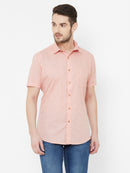 Pink Pinacolada -  EVOQ Men's 100% Pure Superior Cotton-Linen Peach Floral Printed Half Sleeves Casual Shirt - EVOQ