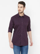 Indigo Cool -  EVOQ Men's 100% Pure Superior Cotton Purple Full Sleeves Casual Shirt - EVOQ