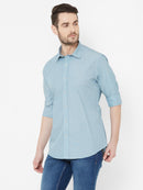 Alaskan Snowflake - EVOQ Men's 100% Pure Superior Cotton Blue  Full Sleeves Casual Shirt - EVOQ