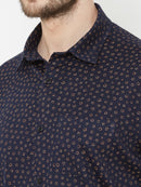 Blueberry Sun - EVOQ Men's 100% Pure Superior Cotton Blue Printed Full Sleeves Casual Shirt - EVOQ