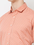Peachy Dreams - EVOQ Men's 100% Pure Superior Cotton Peach Colour Half Sleeves Casual Shirt - EVOQ