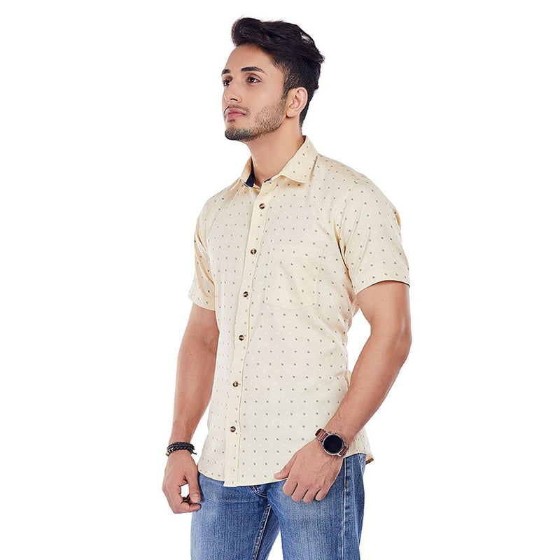 Beige Brush - 100% Cotton Printed Casual Half-Sleeves Shirt, Shirts, EVOQ, EVOQ - evoqstyle.com