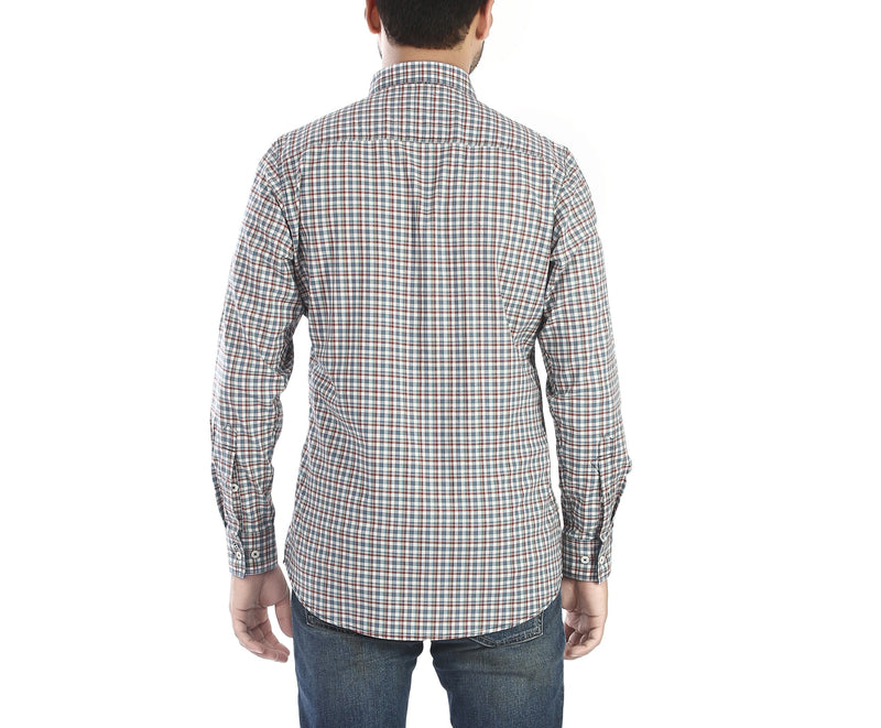 Block Mate - Red, White and Blue full sleeves, checked cotton shirt. - EVOQ
