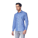 Blue Madras - Blue Cotton Linen Chequered Full Sleeve Spread Collar Shirt, Shirts, EVOQ, EVOQ - evoqstyle.com