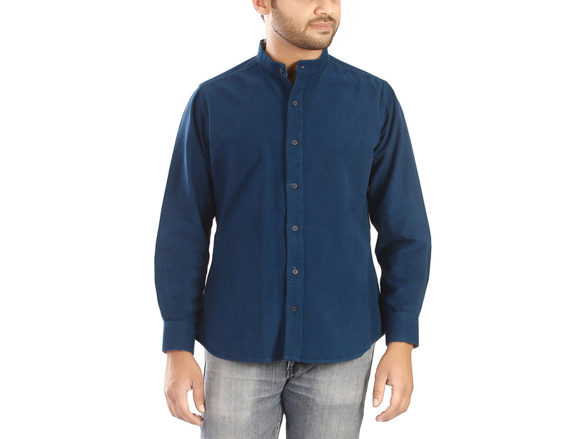 Brushed Cobalt - Cobalt blue full sleeves cotton shirt. - EVOQ