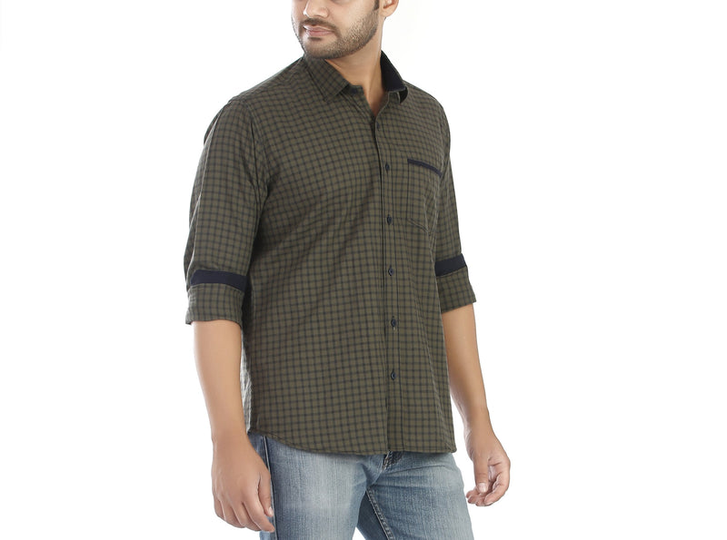 Brushed Olive - Checkered olive coloured full sleeves brushed cotton shirt., Shirts, EVOQ, EVOQ - evoqstyle.com