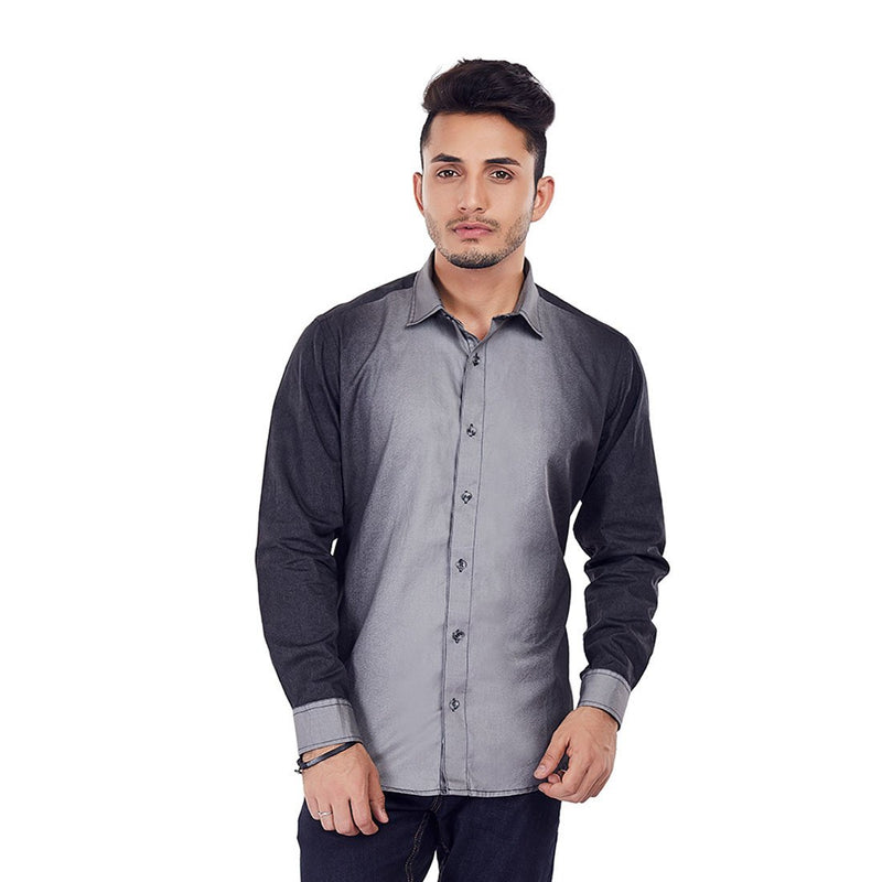 Charcoal Spray - Black Designer Printed Cotton Full-Sleeves Casual and Evening Wear Shirt, Shirts, EVOQ, EVOQ - evoqstyle.com