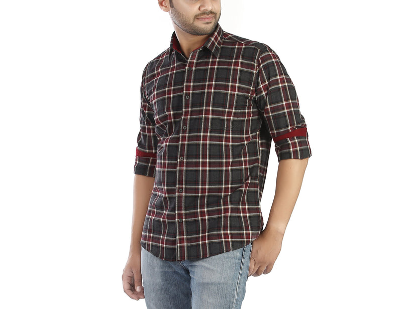 Charcoal Square - Charcoal and maroon flannel full sleeves cotton casual wear shirt, Shirts, EVOQ, EVOQ - evoqstyle.com