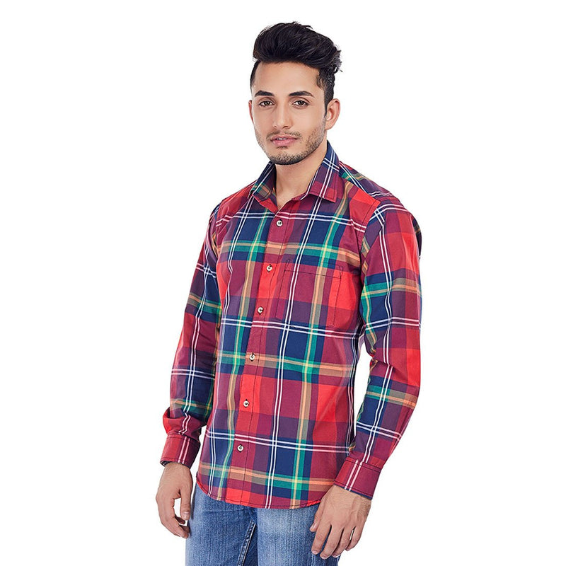 Crimson Jack - 100% Pure Cotton Chequered Formal Shirt, Shirts, EVOQ, EVOQ - evoqstyle.com