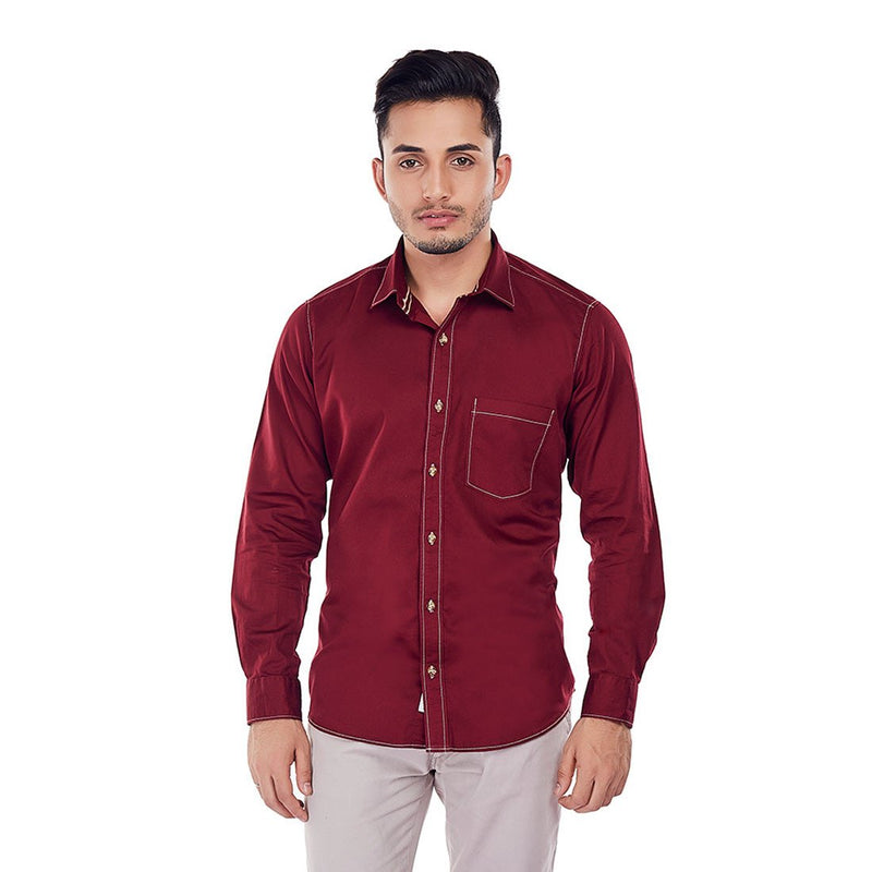 CRIMSON TIDE - Maroon Coloured Superior Cotton Formal and Party Wear Shirt - EVOQ