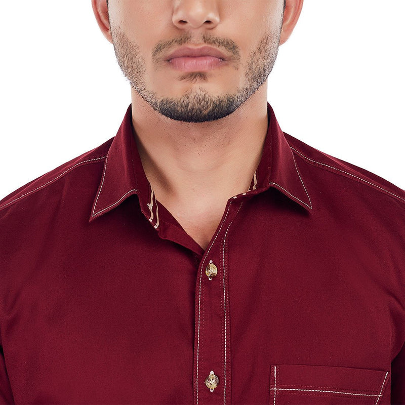 CRIMSON TIDE - Maroon Coloured Superior Cotton Formal and Party Wear Shirt, Shirts, EVOQ, EVOQ - evoqstyle.com