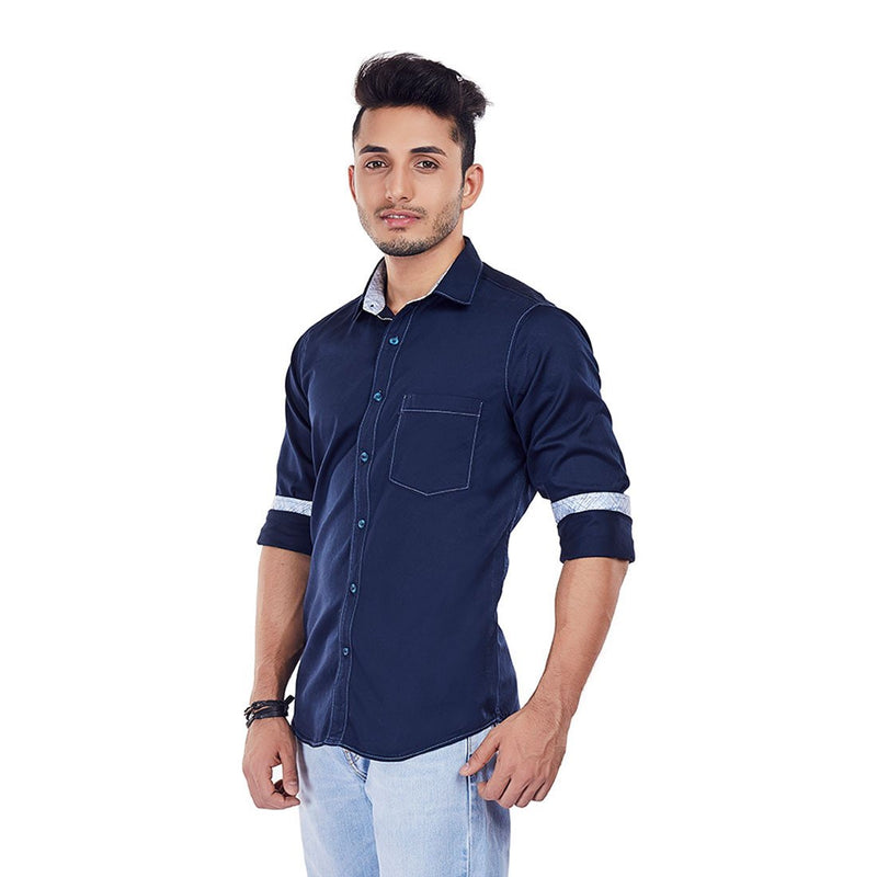 Crisp Twilight - Blue Pure Cotton Full-Sleeves Casual and Party Wear Shirt, Shirts, EVOQ, EVOQ - evoqstyle.com