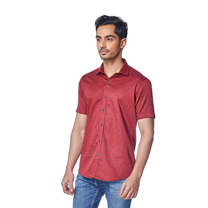 English Auburn - Half Sleeves Cotton Printed Shirt - EVOQ