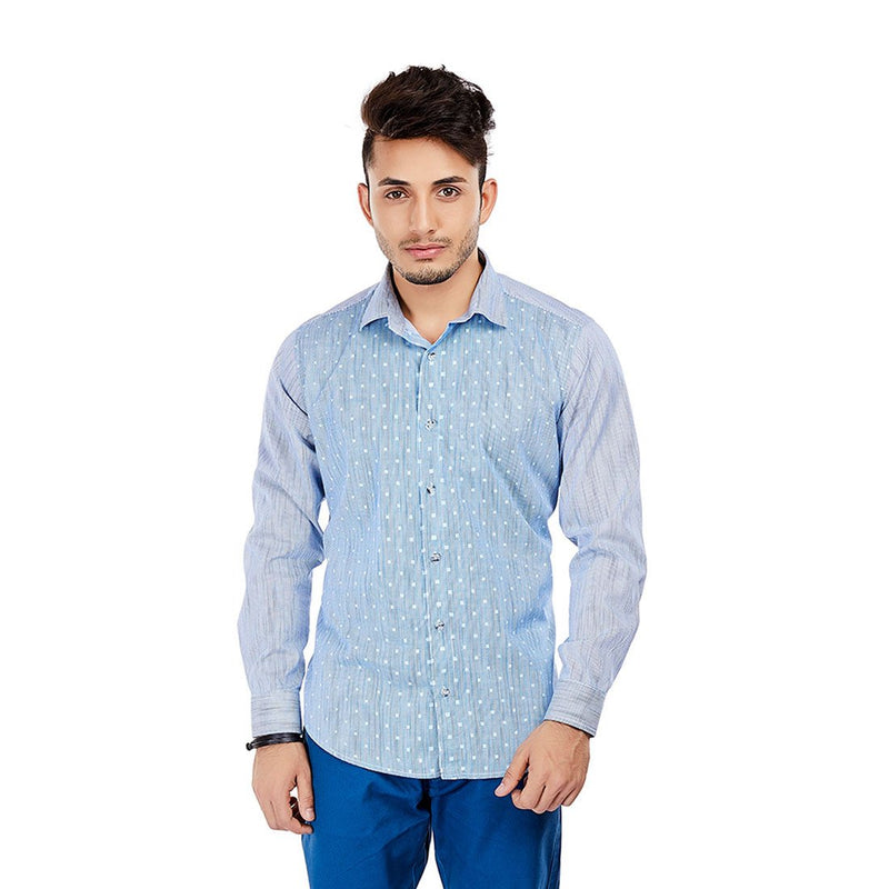 Geometric Love - Light Blue Printed Cotton Casual Wear and Party Wear Shirt - EVOQ