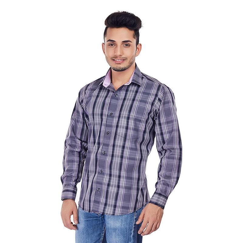 Grey Iris - Grey Colored Checkered Cotton Formal Wear and Casual Wear Shirt, Shirts, EVOQ, EVOQ - evoqstyle.com