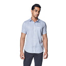 Ice Grey - Sky Grey Cotton Linen Half Sleeve Spread Collar Shirt, Shirts, EVOQ, EVOQ - evoqstyle.com
